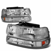 99-04 Chevy Tahoe / Suburban / Silverado Euro Crystal Headlights Combo - Chrome
