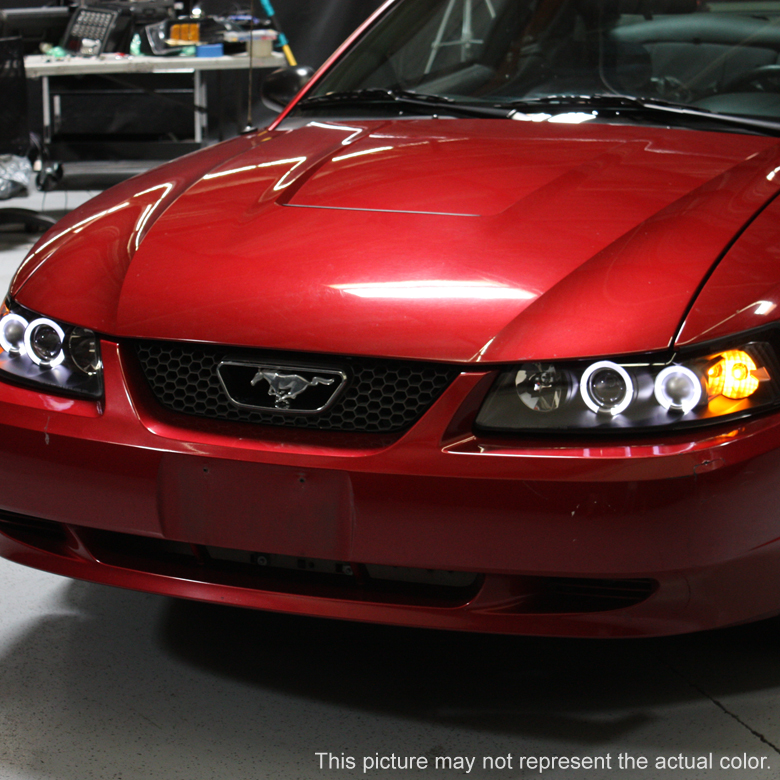 99 04 Ford Mustang 1 Piece Angel Eye Halo Amp Led Projector