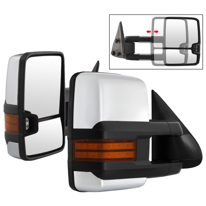 99-06 Chevy Silverado [Manual Adjust] Telescoping Towing Side Mirror - Chrome
