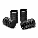 Alloy Coated Thread Aluminum Black Chrome Tire Valve Stem Caps (Pack of 4)