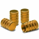 Alloy Coated Thread Aluminum Gold Chrome Tire Valve Stem Caps (Pack of 4)