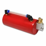 BILLET ALUMINUM RACING ENGINE OIL CATCH RESERVOIR TANK/CAN+HOSE INDICATOR RED