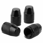 Bullet Style Polished Aluinum Black Tire Vavle Stem Caps (Pack of 4)