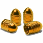 Bullet Style Polished Aluminum Gold Chrome Tire Valve Stem Caps (Pack of 4)