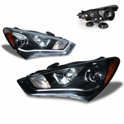 CG 13-15 Hyundai Genesis Coupe [Halogen Model] Fiber Optic LED DRL Projector Headlights - Black