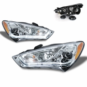 CG 13-15 Hyundai Genesis Coupe [Halogen Model] Fiber Optic LED DRL Projector Headlights - Chrome