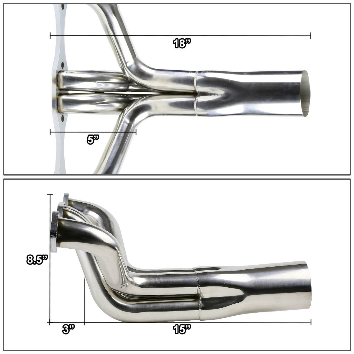 Chevy Small Block SBC V8 IMCA Stainless Steel Exhaust Header