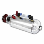 CHROME POLISHED ALUMINUM OIL CATCH RESERVOIR BREATHER TANK / CAN + AIR FILTER SILVER