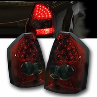 2005-2007 Chrysler 300 Performance LED Tail Lights - Red Smoked By Spyder