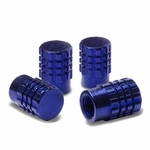 Granade Style Aluminum Polished Tire Valve Stem Covers / Caps - Blue