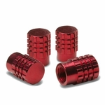 Granade Style Aluminum Polished Tire Valve Stem Covers / Caps - Red