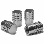 Granade Style Aluminum Polished Tire Valve Stem Covers / Caps - Silver