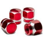 Hexagon Anodized & Powder-Coated Finish Red Aluminum Tire Stem Valve Caps (Pack of 4)