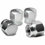 Hexagon Anodized & Powder-Coated Finish Silver Aluminum Tire Stem Valve Caps (Pack of 4)