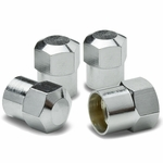Hexagon Brass Alloy Coated & Polished Silver Chrome Tire Valve Stem Caps (Pack of 4)