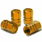 Hexagon Style Polished Aluminum Gold Chrome Tire Valve Stem Caps (Pack of 4)