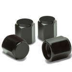Hexagon Style Universal Polished Aluminum Tire Valve Stem Caps - Black