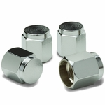 Hexagon Style Universal Polished Aluminum Tire Valve Stem Caps - Silver