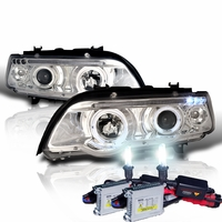 HID Xenon + 00-03 BMW X5 E53 Angel Eye Halo LED Projector Headlights - Chrome