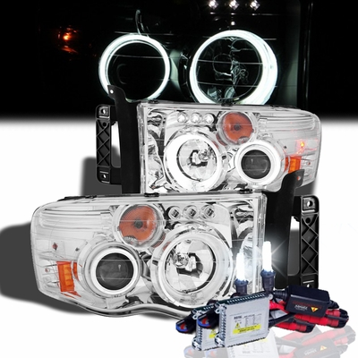 HID Xenon + 02-05 Dodge Ram 1500 2500 Angel Eye Halo Projector Headlights - Chrome