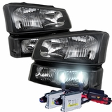 HID Xenon + 03-06 Chevy Silverado / Avalanche Crystal Headlights + Bumper Lens Set - Black