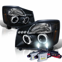 HID Xenon + 04-14 Nissan Titan / Armada Angel Eye Halo & LED Projector Headlights - Black