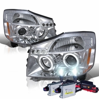 HID Xenon + 04-14 Nissan Titan / Armada Angel Eye Halo & LED Projector Headlights - Chrome