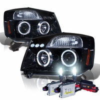 HID Xenon + 04-14 Nissan Titan / Armada Angel Eye Halo & LED Projector Headlights - Gloss Black
