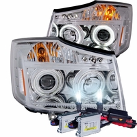 HID Xenon + 04-12 Nissan Titan CCFL Angel Eye Halo & LED Projector Headlights - Chrome