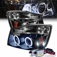 HID Xenon + 2004-2014 Nissan Titan Dual Halo & LED Projector Headlights - Black
