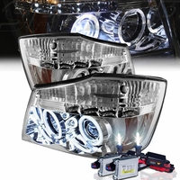 HID Xenon + 2004-2014 Nissan Titan Dual Halo & LED Projector Headlights - Chrome