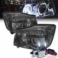 HID Xenon + 2004-2014 Nissan Titan Dual Halo & LED Projector Headlights - Smoked