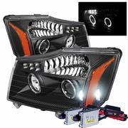 HID Xenon + 04-13 Nissan Titan / 04-07 Armada Angel Eye Halo & LED Projector Headlights - Black
