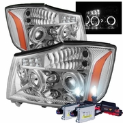HID Xenon + 04-13 Nissan Titan / 04-07 Armada Angel Eye Halo & LED Projector Headlights - Chrome