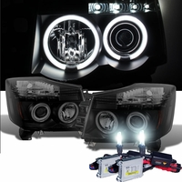 HID Xenon + 04-14 Nissan Titan / Armada Angel Eye Halo & LED Projector Headlights - Black / Smoked