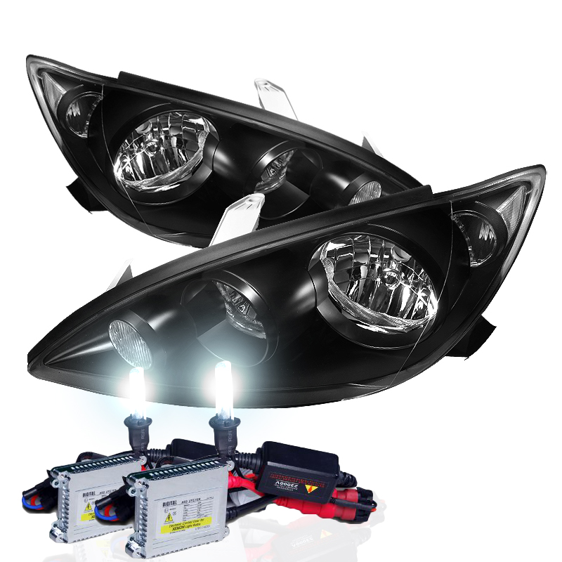 hid xenon 05 06 toyota camry replacement crystal headlights black. Black Bedroom Furniture Sets. Home Design Ideas