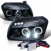 HID Xenon + 05-07 Dodge Magnum Angel Eye Halo & LED Projector Headlights - Black
