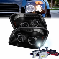 HID Xenon + 05-07 Dodge Magnum Angel Eye Halo & LED Projector Headlights - Black Smoked
