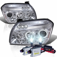 HID Xenon + 05-07 Dodge Magnum Angel Eye Halo & LED Projector Headlights - Chrome