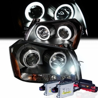 HID Xenon + 05-07 Dodge Magnum CCFL Angel Eye Halo & LED Projector Headlights - Black
