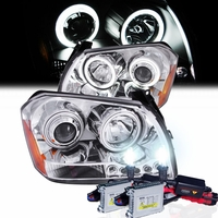 HID Xenon + 05-07 Dodge Magnum CCFL Angel Eye Halo & LED Projector Headlights - Chrome