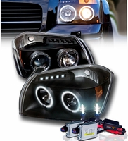 HID Xenon + 05-07 Dodge Magnum Dual Halo & LED DRL Projector Headlights - Black