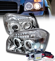 HID Xenon + 05-07 Dodge Magnum Dual Halo & LED DRL Projector Headlights - Chrome