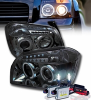 HID Xenon + 05-07 Dodge Magnum Dual Halo & LED DRL Projector Headlights - Smoked