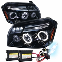 HID Xenon + 05-07 Dodge Magnum LED DRL Halo Projector Headlights - Glossy Black