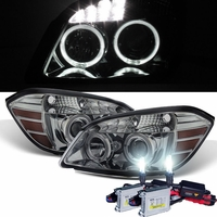 HID Xenon + 05-10 Chevy Cobalt 07-10 Pontiac G5 Angel Eye Halo Projector Headlights - Smoked