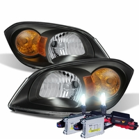 HID Xenon + 05-10 Chevy Cobalt Factory Style Crystal Headlights - Black