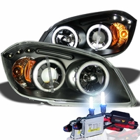 HID Xenon + 05-10 Chevy Cobalt / G5 CCFL Angel Eye Halo & LED Projector Headlights - Black