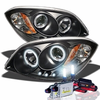 HID Xenon + 05-10 Chevy Cobalt / Pontiac G5 Angel Eye Halo Projector Headlights - Black