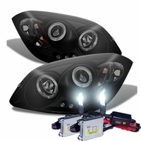 HID Xenon + 05-10 Chevy Cobalt / Pontiac G5 Angel Eye Halo Projector Headlights - Black / Smoked